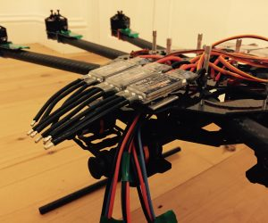 ESC in place, motors labeled up, wires in place…………